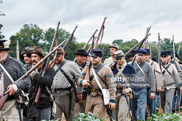 Confederate Soldiers in Military Uniform and With Rifles March to the Battlefield During the 150th Anniversary of the Historic Battle of Chickamauga...