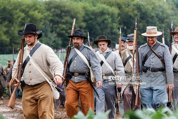 Confederate Soldiers in Military Uniform With Rifles March to the Battlefield During the 150th Anniversary of the Historic Battle of Chickamauga...
