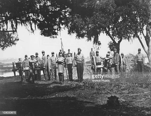 Confederate soldiers of the 'Palmetto Battery' in Charleston South Carolina 1863 This photograph was taken by George S Cook one of the most renowned...