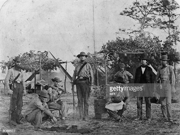 Confederate volunteers at Warrington Navy Yard Pensacola Florida wearing an assortment of 'uniforms'