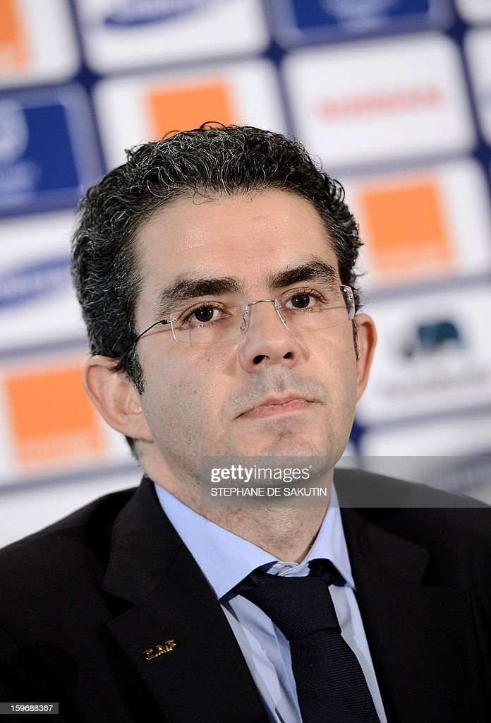 Confederation of African Football (CAF) Secretary General, Hicham El Amrani gives a press conference on January 18, 2013 in Johannesburg on the eve of the start of the 2013 Africa Cup of Nations hosted by South Africa from January 19 to February 10. AFP PHOTO / STEPHANE DE SAKUTIN