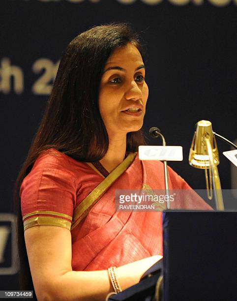 Confederation of Indian industry National Committee chairperson Chanda Kochhar talks during an interactive session with US Under Secretary for...