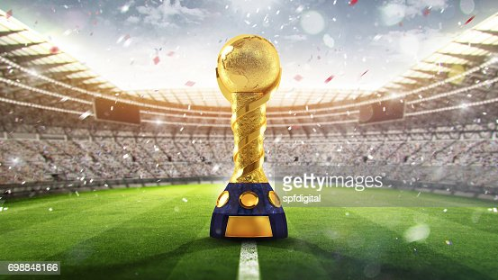Confederations Cup. Golden trophy in the form of the globe. 2017. 3d render : Stock Photo