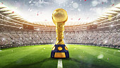 Confederations Cup. Golden trophy in the form of the globe. 2017. 3d render