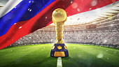 Confederations Cup. Golden trophy in the form of the globe. Russia 2017. 3d render