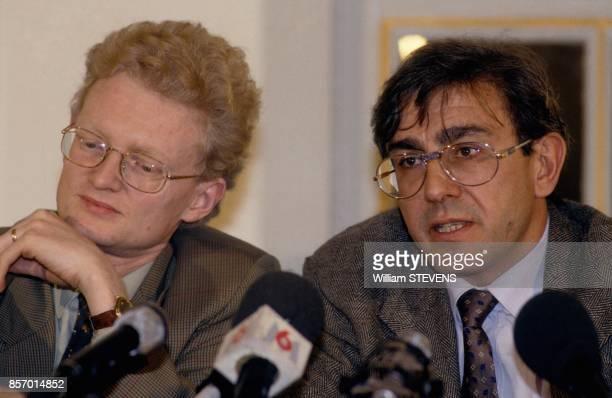 Conference de presse sur le forum de la justice avec Thierry JeanPierre et Antoine Gaudino le 14 fevrier 1992 a Paris France