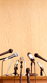 Conference microphones on lectern