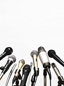 Conference microphones on white background