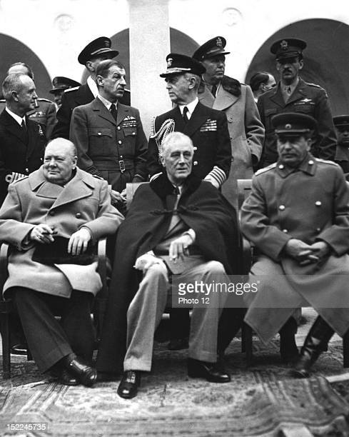 Conference of the Big Three in Yalta February 412 Left to right Prime Minister Winston Churchill President Franklin D Roosevelt and Premier Josef...