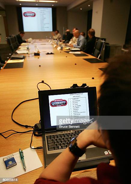 Conference room attendees prep for the 2008 NHL Draft Drawing on April 7 2008 at the National Hockey League headquarters in New York City