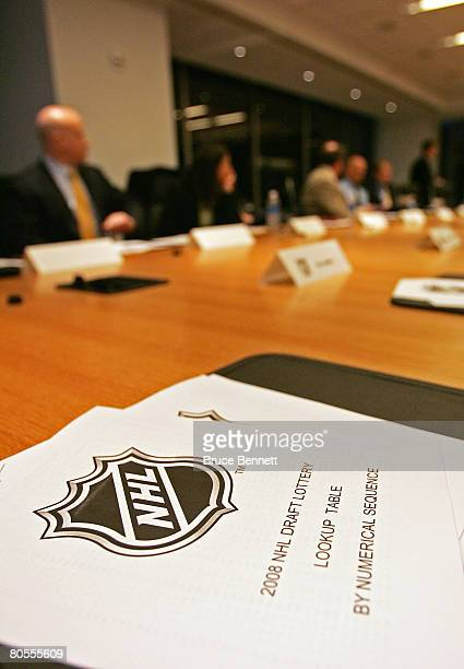 Conference rooms attendees prep for the 2008 NHL Draft Drawing on April 7 2008 at the National Hockey League headquarters in New York City