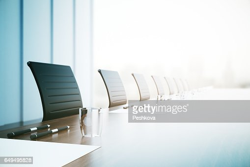 Conference table closeup : Stock Photo