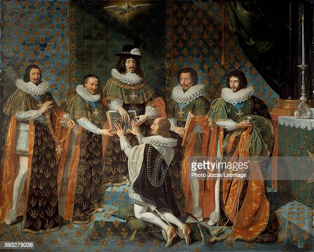 Louis XIII receiving Henri II d'Orleans Duke of Longueville and Estouville sovereign prince of Neufchatel into the Order of the Holy Spirit 15 May...
