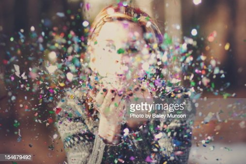 Confetti and woman