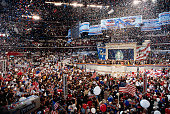Confetti covers the air as the 1996 Democratic National Convention welcomes First Lady Hillary Rodham Clinton