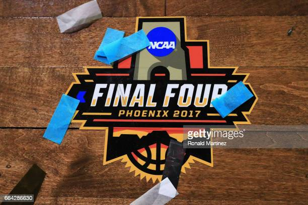 Confetti covers the Final Four logo after the North Carolina Tar Heels defeated the Gonzaga Bulldogs during the 2017 NCAA Men's Final Four National...