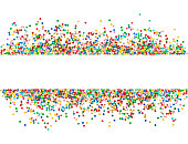 Confetti decoration on white background. Holiday party banner