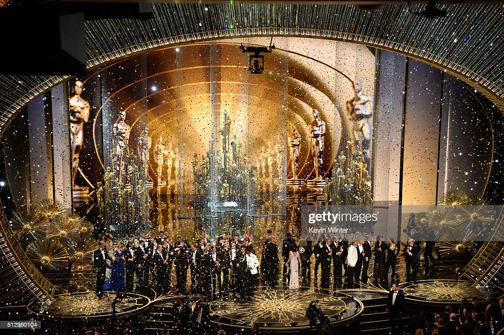 Confetti drops as Oscar winners celebrate onstage during the 88th Annual Academy Awards at the Dolby Theatre on February 28 2016 in Hollywood...