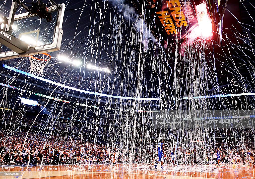 Confetti falls after the Connecticut Huskies defeated the Kentucky Wildcats 6054 in the NCAA Men's Final Four Championship at ATT Stadium on April 7...
