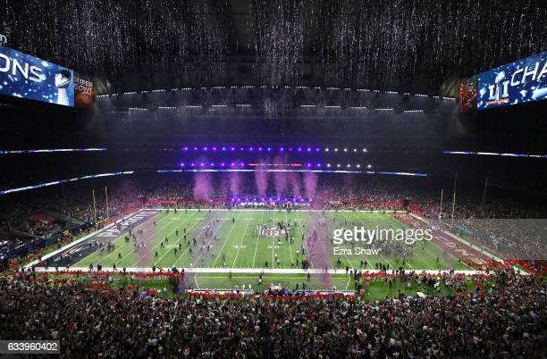 Confetti falls after the New England Patriots defeated the Atlanta Falcons during Super Bowl 51 at NRG Stadium on February 5 2017 in Houston Texas...