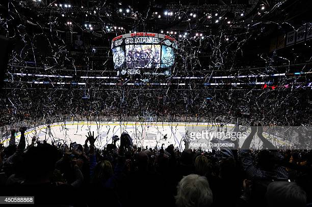 Confetti falls as the Los Angeles Kings celebrate defeating the New York Rangers 32 in double overtime of Game Five to win the 2014 Stanley Cup Final...