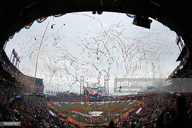 Confetti falls during a pregame ceremony prior to the Championship Round of the 2013 World Baseball Classic between the Dominican Republic and the...