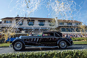 Confetti falls over the 1924 Isotta Fraschini Tipo 8A after the winning best of show award during the 2015 Pebble Beach Concours d'Elegance in Pebble...