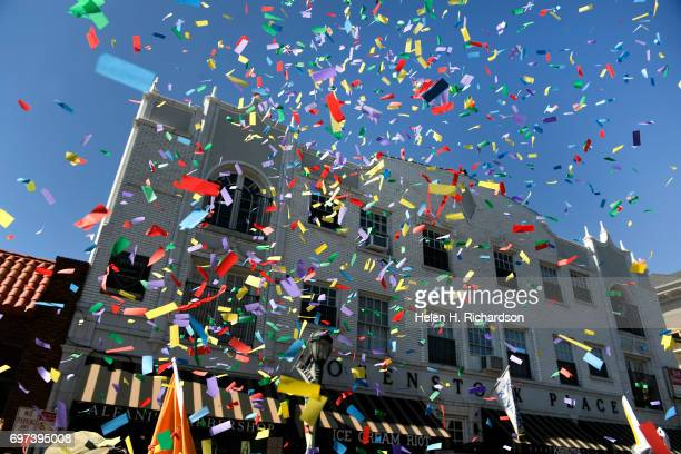 Confetti flies in the air during the 42nd annual PrideFest Parade on June 18 2017 in Denver Colorado Denver PrideFest is Colorados largest regional...