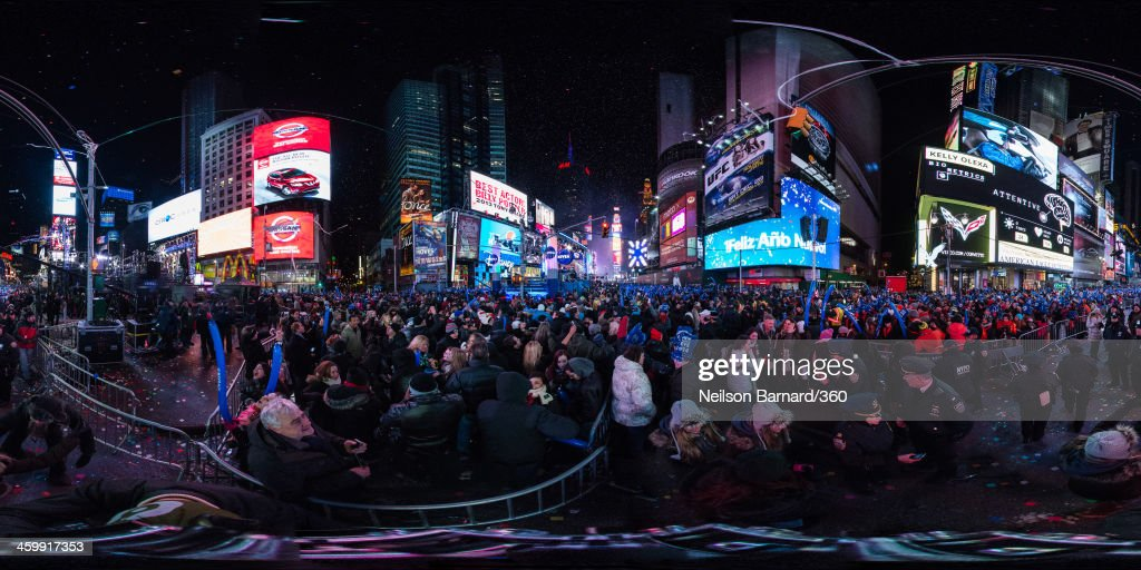 Confetti flies onto the crowds during The New Year's Eve 2014 Celebration in Times Square on January 1, 2014 in New York City.