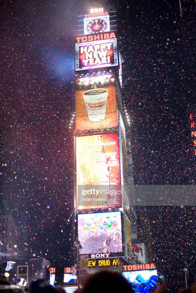 Confetti flies through the air in Times Square just after the annual ball drop January 01, 2011 in New York City. This year a 11,875-pound Waterford crystal ball descended a 141-foot tall flagpole to mark the beginning of 2011.