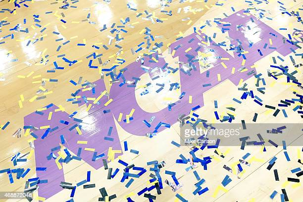 Confetti is seen on the court after the Connecticut Huskies defeated the Notre Dame Fighting Irish 6353 during the NCAA Women's Final Four National...