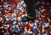 Confetti lie over the floor at the Tampa Bay Times Forum in Tampa Florida on August 30 2012 on the last day of the Republican National Convention The...