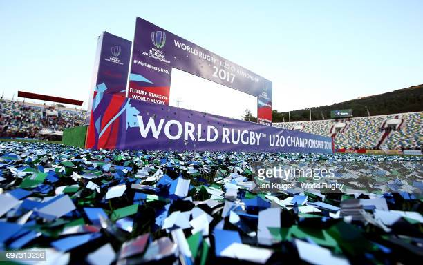 Confetti lies on the pitch after the World Rugby U20 Championship final match between England and New Zealand at Mikheil Meskhi Stadium on June 18...