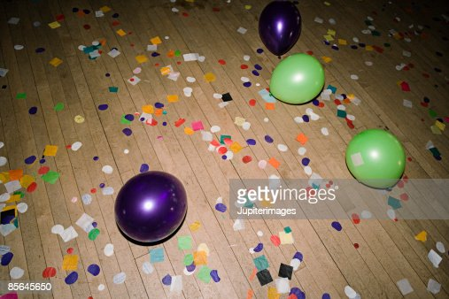 Confetti on floor of prom