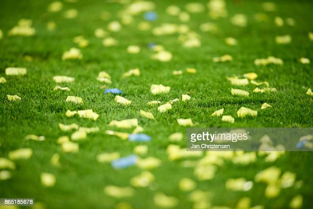 Confetti on the pitch during the Danish Alka Superliga match between FC Helsingor and Brondby IF at Helsingor Stadion on October 22 2017 in Helsingor...