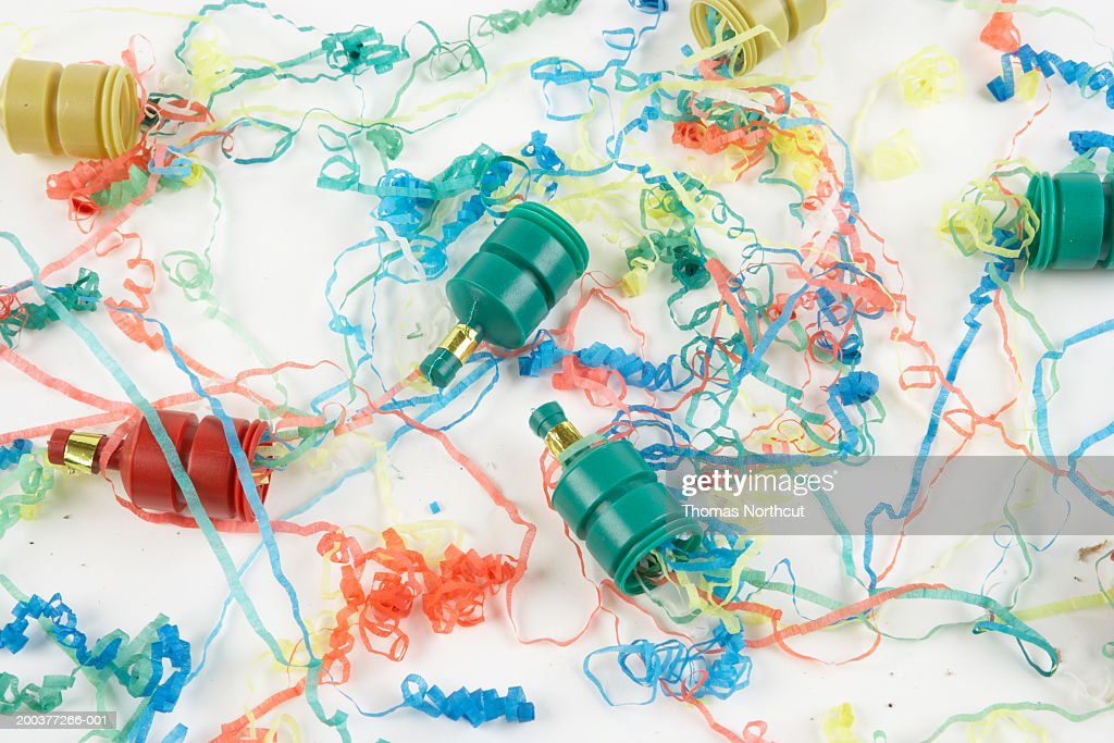 confetti poppers and ribbons elevated view stock photo