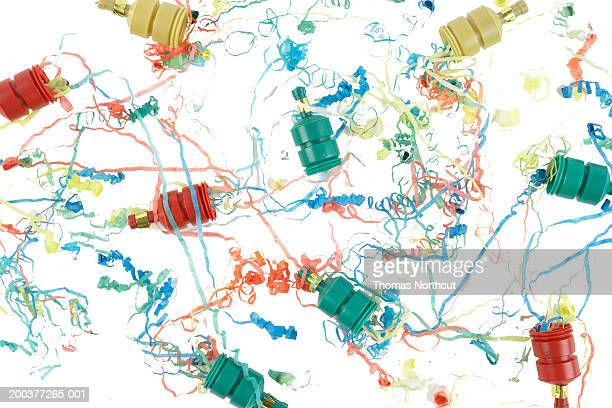 Confetti poppers and ribbons, overhead view