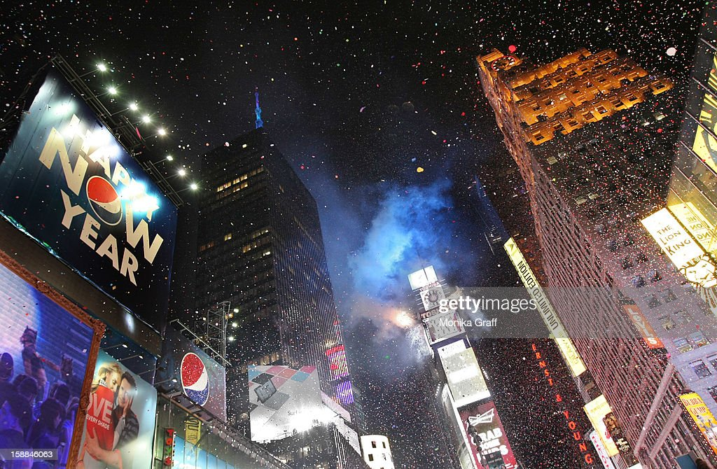 Confetti rains down at the stroke of midnight as thousands gather in Times Square on January 1, 2013 in New York City. Approximately one million people are expected to ring in the new year in Times Square.