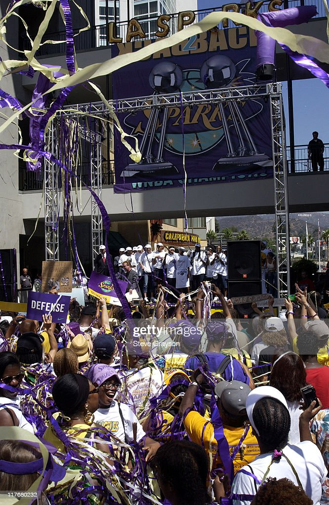 Confetti rains on fans during the Los Angeles Sparks celebration of their second consecutive WNBA title