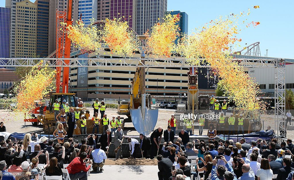 Confetti shoots from the stage during a groundbreaking for a USD 375 million, 20,000-seat sports and entertainment arena being built by MGM Resorts International and AEG on May 1, 2014 in Las Vegas, Nevada. The arena is scheduled to open in early 2016.