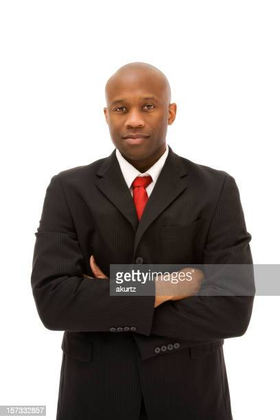 Confident African American business professional Mature man standing suit