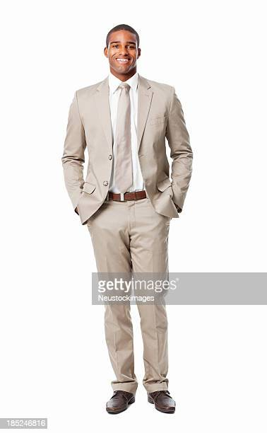 Confident African American Businessman Smiling - Isolated