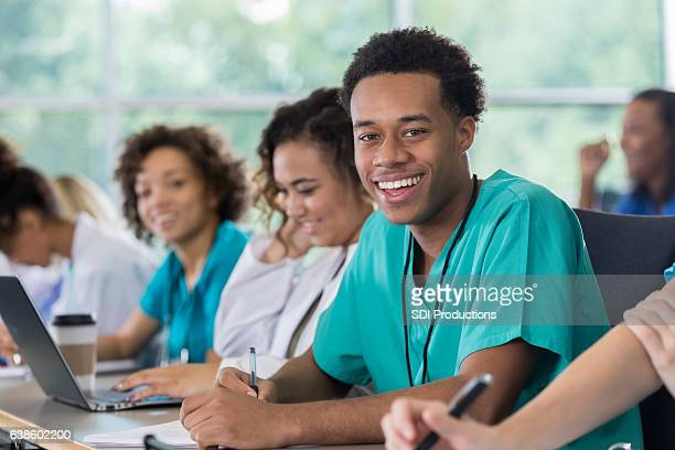 Confident African American male pre-med student in class