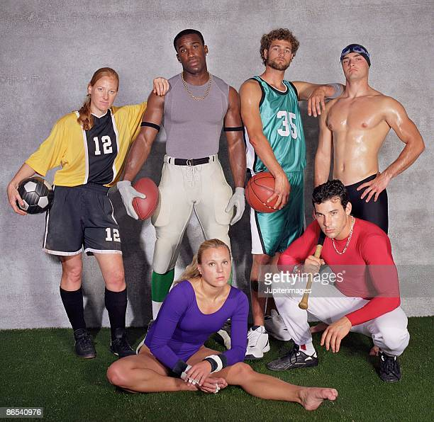 Confident athletes of various sports