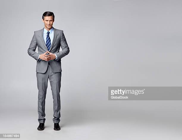 Confident business man gesturing