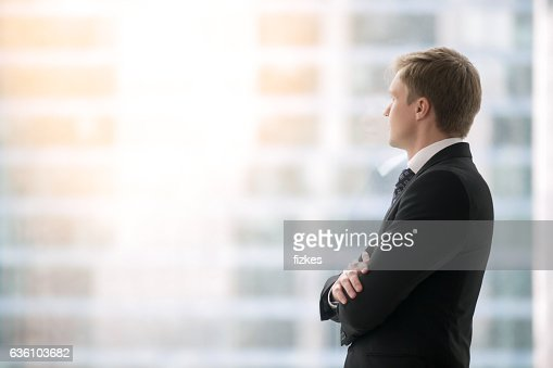 Confident businessman waiting for the meeting : Stock Photo