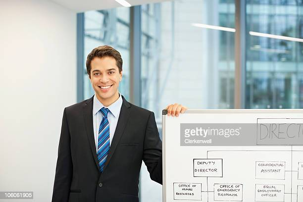 Confident businessman with organization tree on whiteboard