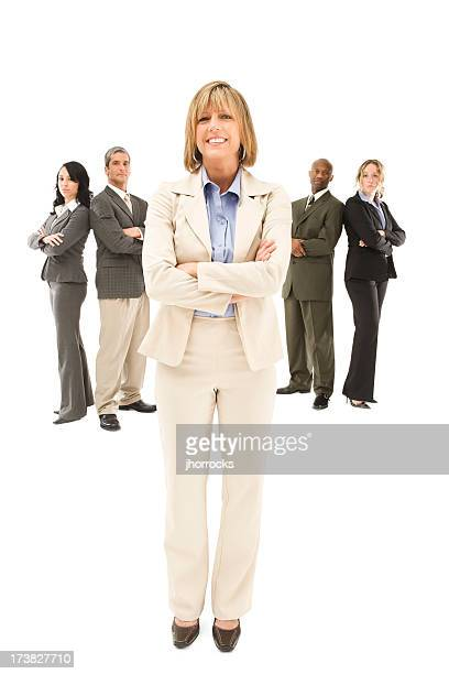 Confident Businesswoman and Her Team