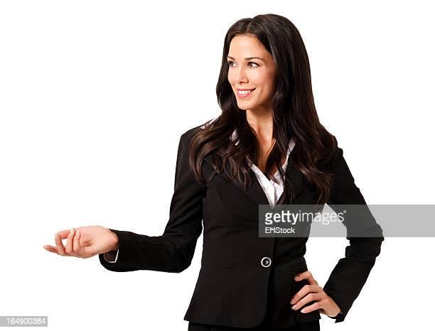Zuversichtlich Geschäftsfrau Gestikulieren, isoliert auf weißem Hintergrund