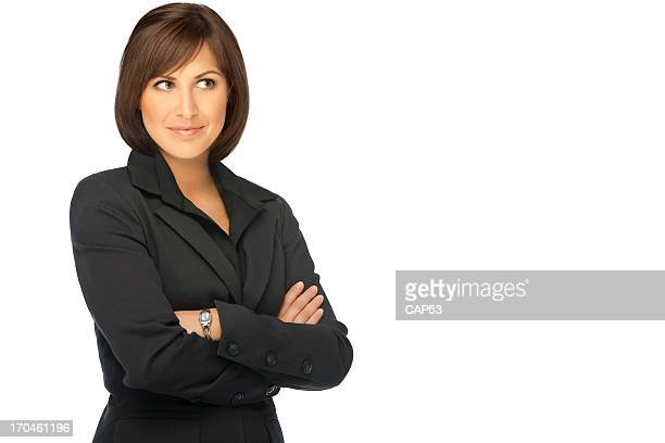 Confident Businesswoman Looking Away Isolated On White